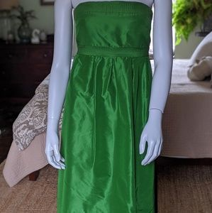 J. Crew Lorelei 100% silk POCKETS Dress Green